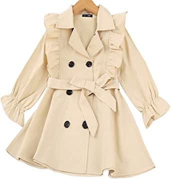 Toddler Baby Girl Fall Double Breasted Ruffle Trim Belted Trench Coat Winter Long Sleeve Casual Windbreaker Outerwear