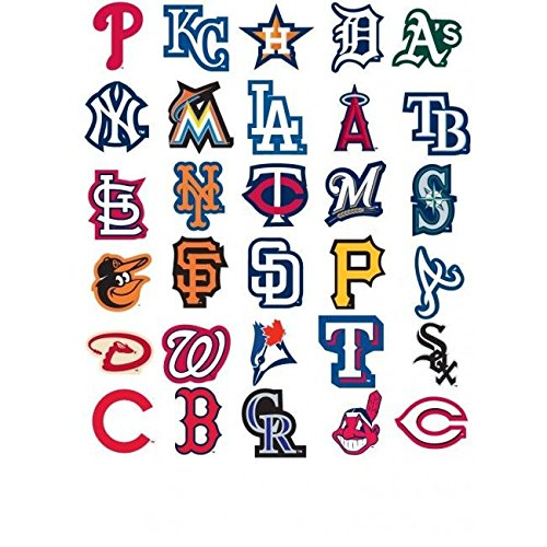 30 MLB Stickers Complete Set. All 30 Baseball Teams. Major League Baseball Team Logo Pack. Yankees Red Sox Dodgers Cubs Giants Tigers Braves White Mets Angels Indians Rangers Pirates Reds - Ray Toronto White