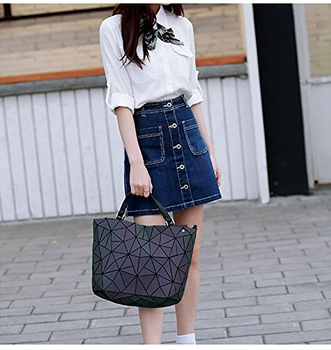 Big Bucket Handbags Women Tote Padded Luminous Manob Sequin Sequined Casual Shoulder Handbag Bag Bsmall Laser Folding 7Ewqnx8aS