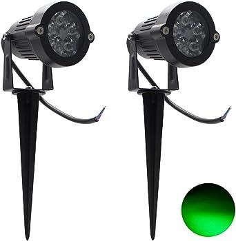 2 Packs, 5W LED Impermeable IP65, Luz de Paisaje al Aire Libre AC 85-265V Focos de exterior , de iluminación Para Calzada, Patio, Cesped, Pathway, Jardín (Verde): Amazon.es: Iluminación