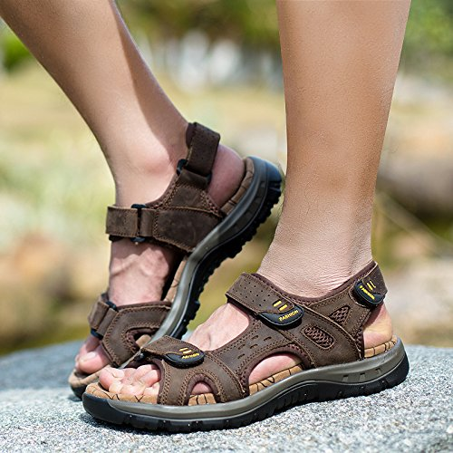 Casual Uomini I Sandali Di Pelle, Estate Uomini, Outdoor Beach Scarpe,Marrone Scuro,Eu39