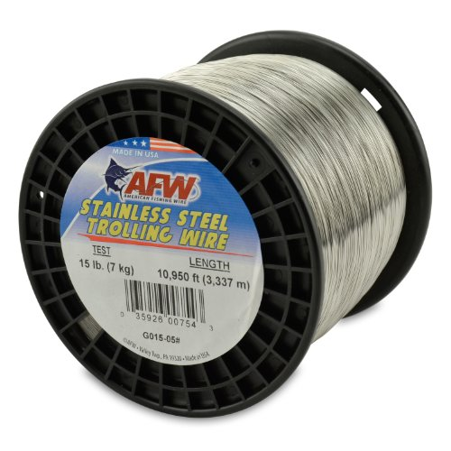 American Fishing Wire Stainless Steel Trolling Wire, 15-Pound Test/0.33mm Dia/3337m