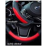 Car Steering Wheel Cover Leather – Soft Microfiber Steering Wheel Cover Universal Size M 37-38cm /14.5-15inch, Anti-slip…