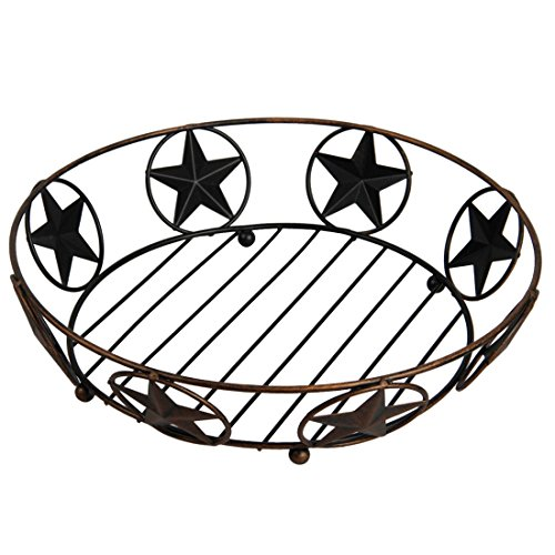 Vintage Crafts Fruits Basket With Hallowed Stars Patterns Wire Fruit Tree Bowl Stand-Perfect for Fruit, Vegetables, Snacks, Household Items (Bronze)