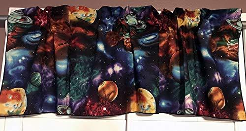 "Zen Creative Designs 100% Cotton ""Stargazers Celestial"" Window Valance 42"" Wide Panel / Kids Nursery Window Treatment Decor / Space Stars Planets and Galaxies (14"" Tall)"