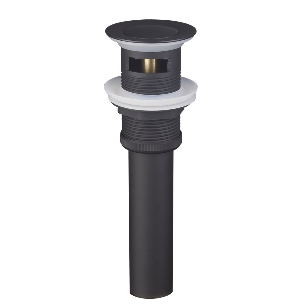 Shile Black Color Push and Seal Pop Up Drain Stopper Assembly with Overflow for Bathroom Faucet Vessel Vanity Sink