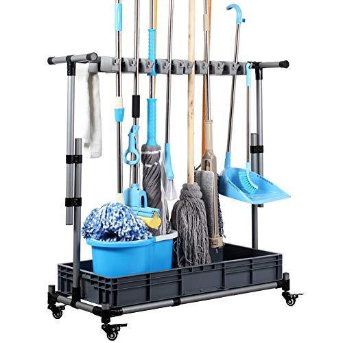 Broom and mop holder put wet mops Movable Floor-Mounted mop Rack hanger Cleaning Tool cart Storage for garden garage…