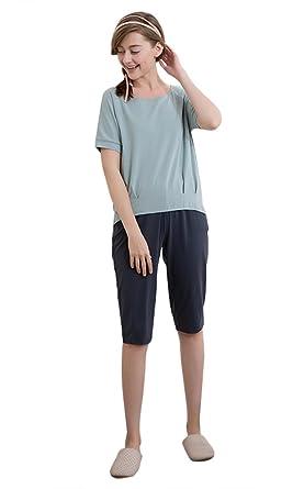 S NEU!!! Damen Shorty Schlafanzug Kurzarm hellblau Baumwolle Gr
