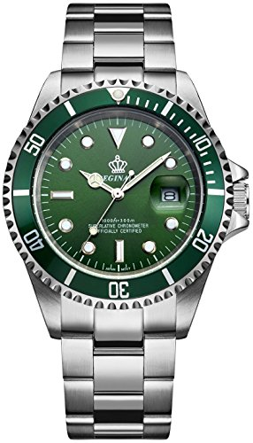 Fanmis Green Dial Rotatable Bezel Sapphire Glass Luminous Hand Quartz Mens Womens Stainless Steel Watches
