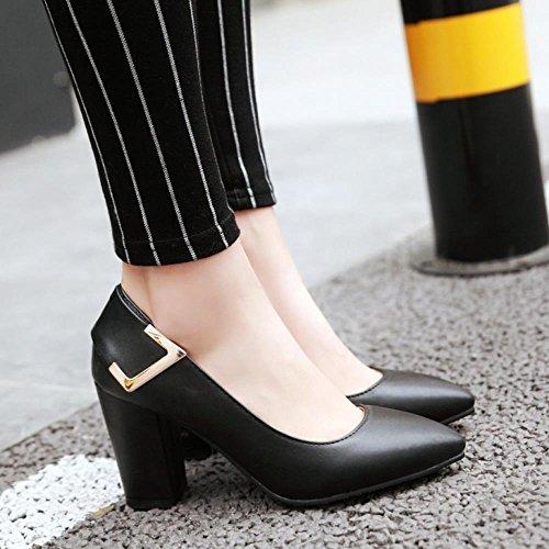 COOLCEPT Damen Basic Slip on Pumps Comfy Blockabsatz Office Dress Schuhe Black