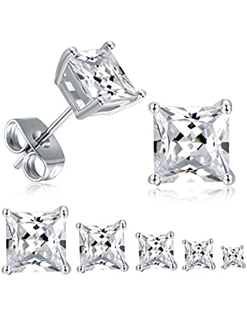 bdb0c642c 18K White Gold Plated Princess Cut Cubic Zirconia Stud Earrings Pack of 5