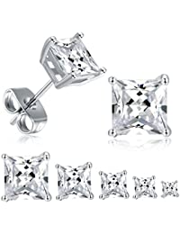 18K White Gold Plated Princess Cut Clear Cubic Zirconia Stud Earrings Hypoallergenic Jewelry Pack of 5