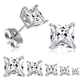 18K White Gold Plated Princess Cut Cubic Zirconia Stud Earrings Pack of 5: more info