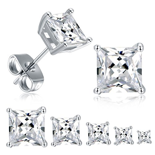 18K White Gold Plated Princess Cut Cubic Zirconia Stud Earrings Pack of 5 ()