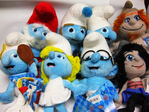 2013 Official The Smurfs 2 Complete 8 pc Plush Doll Set Vexy Hackus ()