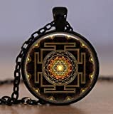 Sri Yantra Yantram Kavach Pendant 1.25'' Inch - Unique - Energized Sacred Gold plated hollowed Sri Yantra Pendant Necklace jewelry in High Quality finish - US Seller