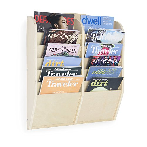 Guidecraft 12 Section Magazine Rack and File Organizer - Wooden Wall Mounted Book Shelf, Classroom Literature Display Holder: Office School Supply