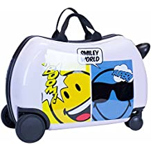 "Smiley Emoji Kids CarryOn Luggage 20"" Ride-On Suitcase - Silly Smiley Cutie Face"