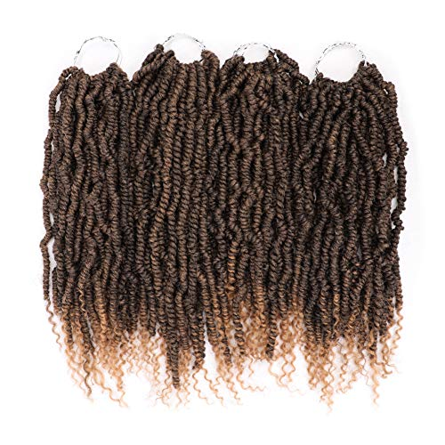 4 Pack Spring Twist Crochet Braids Bomb Twist Crochet Hair Ombre Burgundy Colors Synthetic Fluffy Hair Extension 14inch (#1B/27)