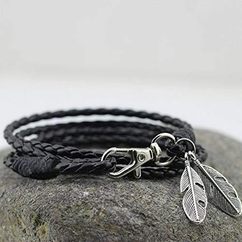 Hemau Valentine Gift Friendship Genuine Leather Braided Bracelet Wristband Men Ladies | Model BRCLT - 410 |