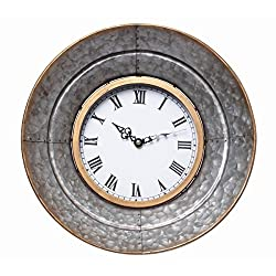 Hosley Metal Wall Clock- 13.3 Diameter. Rustic Aged Galvanized Silver Finish. Country Farm House Style. Ideal for Weddings, Special Occasions, and for Wall Decor, Home, Spa, Aromatherapy, Reiki P2