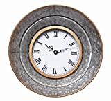 Hosley Metal Wall Clock- 13.3″ Diameter. Rustic Aged Galvanized Silver finish. Country Farm house style. Ideal for Weddings, Special Occasions, and for Wall Decor, Home, Spa, Aromatherapy, Reiki P2