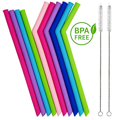 (10 Pack Reusable Silicone Straws + 2 Cleaning Brush, Collapsible Drinking Straw Set, Smoothie Drink Straws Regular Size for 20 30 & 40 Oz Tumbler, Ideal for Babies Toddlers Kids Adults)