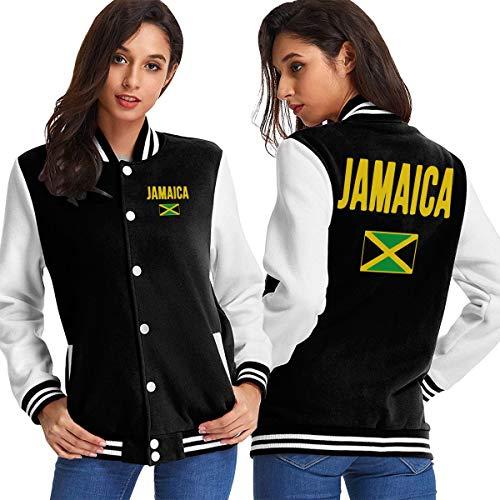 WOMh0EN Jamaican Flag Women's Long Sleeve Baseball Jacket Baseball Couples Jacket -