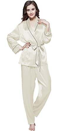 7d7bbc94a9 LILYSILK Women s Long Silk Pyjamas Set with Belt Contrast Trim 22 Momme  Pure Silk Beige Size