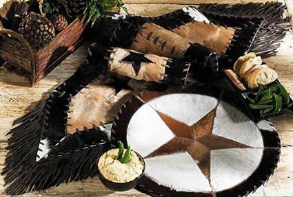 Black Forest Decor Cowhide Star Western Table Runner   Western Dining  Tableware