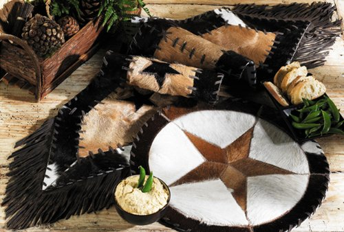Cowhide Star Western Table Runner - Western Dining Tableware by Black Forest Decor