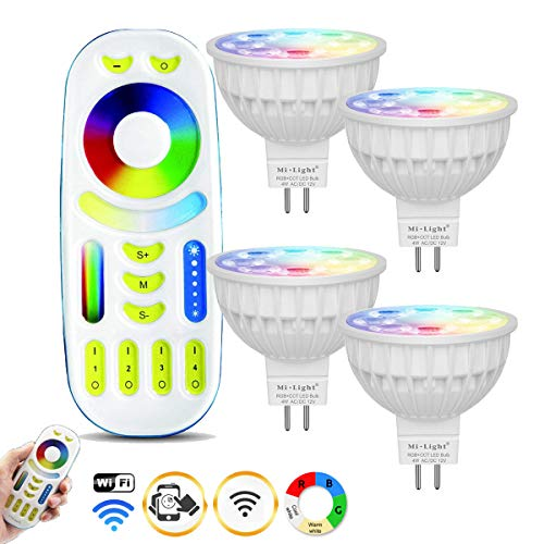 Mi-light Dimmable MR16 4W Led Bulb RGBW/WW LED Spotlight Smart Led Lamp with Touch Remote
