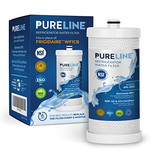 Frigidaire WF1CB Certified Water Filter. Also Compatible with Frigidaire WFCB, RG100, NGRG2000, and WF284. Designed to Exact Fit & Standards as Original Frigidaire Filter. -PURELINE (Source Wfcb Pure Filter Water)