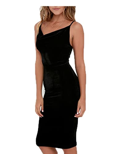 CHARLES RICHARDS CR Women's Cowl Neck Velvet Open Back Cami Midi Bodycon Dress