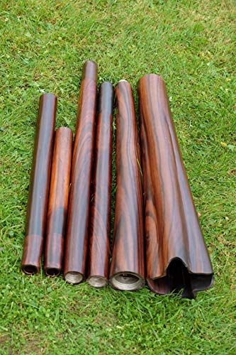 Didgeridoo ETHNO-MAGIC. PALISANDER WOOD Main note(440 Hz): C#,C,B,A# - Length: Body:75cm+76cm, mouthpieces: 50 cm, 64 cm,74 cm,84 cm - Bell:15cm - Inner diameter of the mouthpiece:3cm - Weight:5,1kg - Case: included 440 hz C# - Trumpets: C#, G#, D# -...