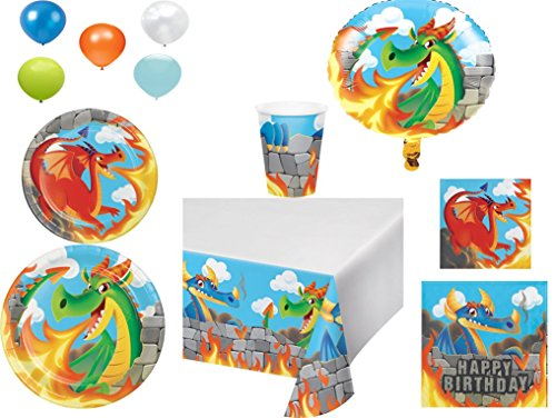 - Disposable Plates/Napkins/Cups/Tablecloth/Balloons Dragons Happy Birthday Themed Party Pack, 8-Piece Bundle