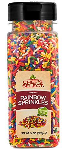 Chefs Select Decorative Rainbow Sprinkles Jimmies 14oz | Value Size | Gluten Free Certified