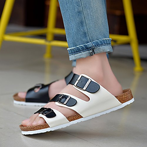 Xing Lin Sandalias De Hombre Los Hombres Zapatillas Sandalias De Verano Playa Del Hombre Zapatos Antideslizantes Sandalias De Pie Clip Black and white