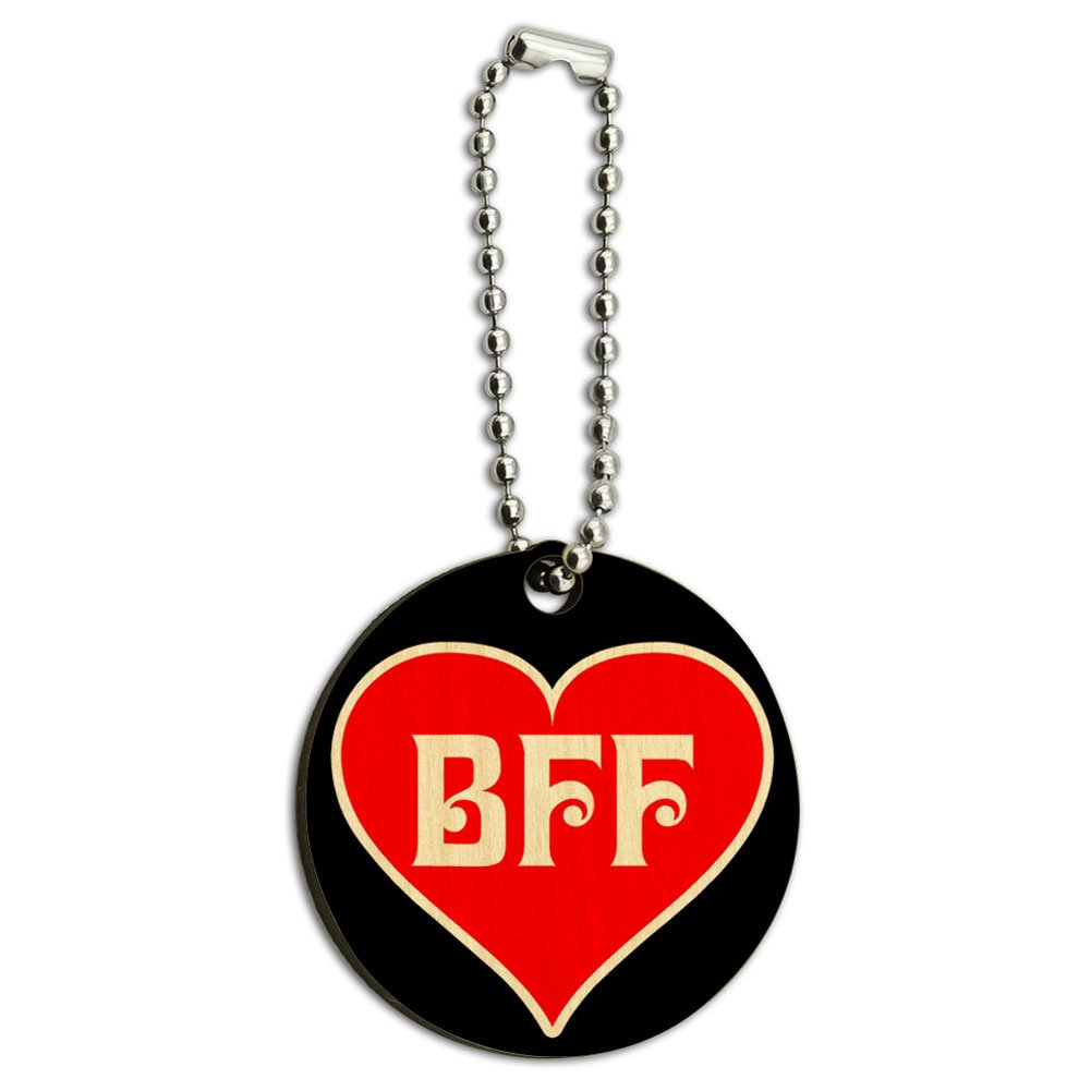 BFF Best Friends Forever Red Heart Wood Wooden Round Key Chain