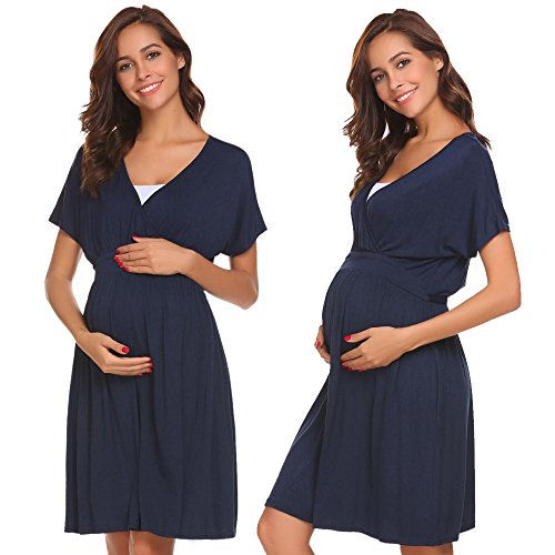 Acecor Women's Soft Belted Maternity & Nursing Nightgown Sleepwear Dress S-XXL