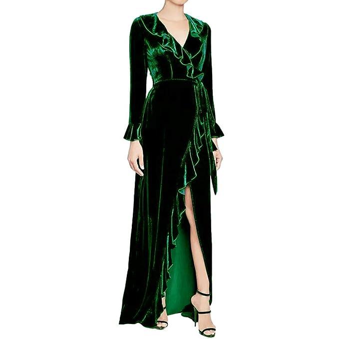 beautyjourney Vestido de Noche de Terciopelo con Cuello en v de Manga Larga  para Mujer Elegante 49e1d5da3d61