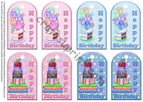 Brilliant 8 Birthday Cake Presents Gift Tags Pink Or Blue By Valerie Funny Birthday Cards Online Sheoxdamsfinfo
