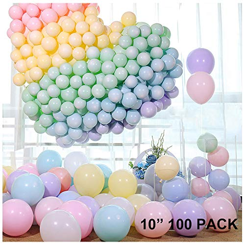 10 Inch 100 Pack Pastel Latex Balloons Rainbow Macaron Candy Party Balloons For Wedding Birthday Baby Shower Holiday Christmas Party Decorations Supplies Women Girls Kids Shiny Random Color Balloons (Macaron Party Supplies)