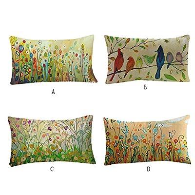 FORUU Throw Pillowcase, Flower Printing Sofa Bed Home Decoration Festival Pillow Case Covers Cushion