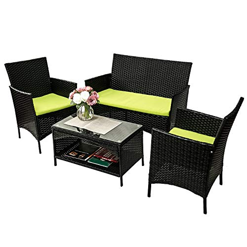Merax 4 PC Rattan Patio Furniture Set Outdoor Patio Cushioned Seat Wicker Sofa (Green.) by Merax