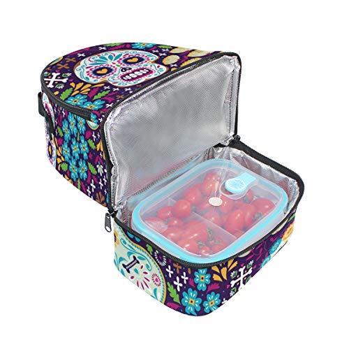 de calavera azúcar para diseño de el térmica el almuerzo para Bolsa ajustable hombro con correa Alinlo Bq0nYY