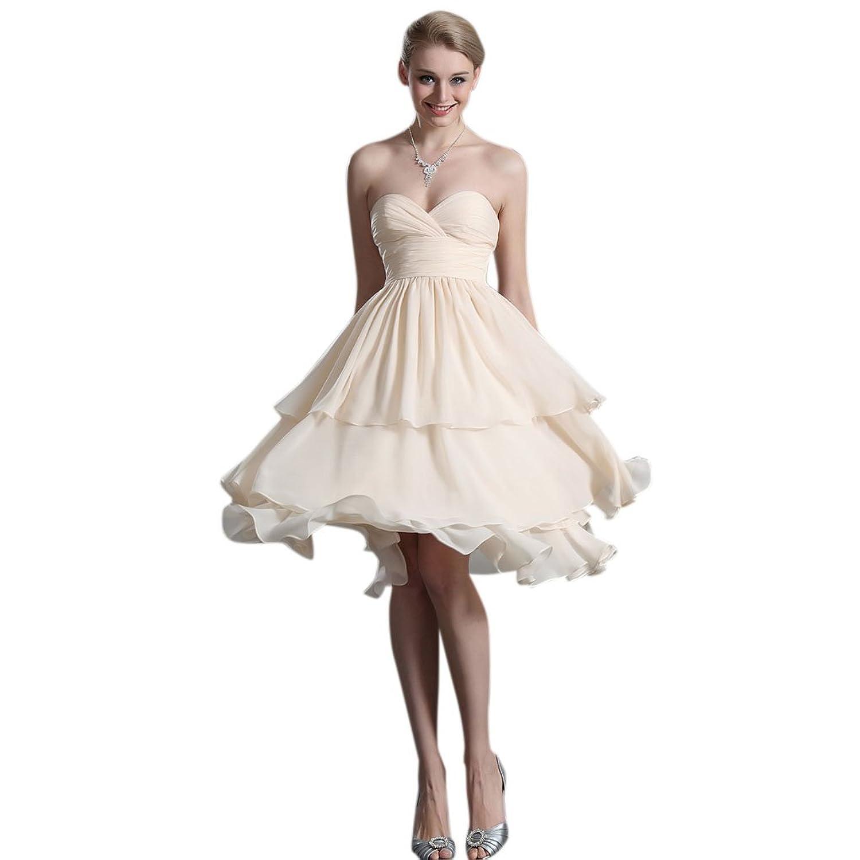 Dearta Women's A-Line Sweetheart Knee-Length Chiffon Evening Dresses