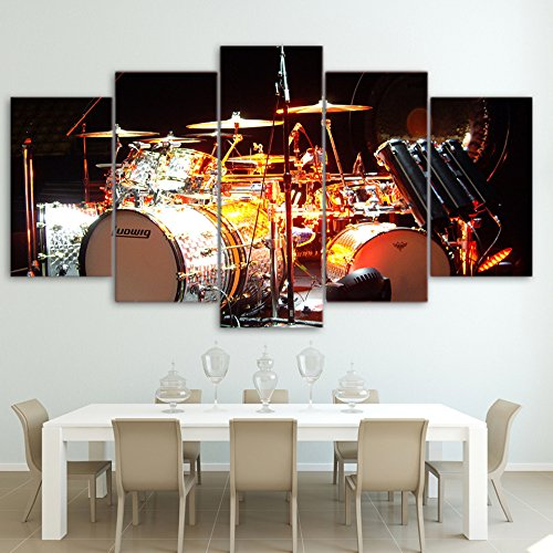 Drum Photo Poster ([LARGE] Premium Quality Canvas Printed Wall Art Poster 5 Pieces / 5 Pannel Wall Decor Music Rack Drum Painting, Home Decor Pictures - With Wooden Frame)