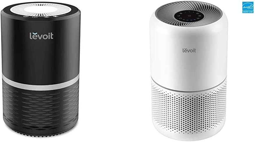 LEVOIT Air Purifiers for Home Allergies and Pets with H13 True HEPA Filter, Black & Air Purifier for Home Allergies Pets Hair Smokers in Bedroom, H13 True HEPA Filter, for Large Room, Core 300, White