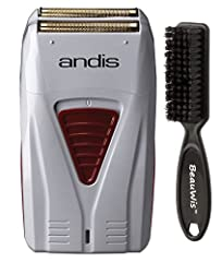 Andis Cordless Mens Long Lasting Lithium Battery Titanium Foil Shaver with a BeauWis Brush